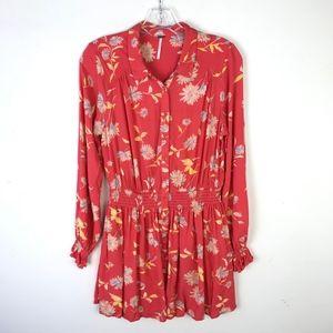 Free People Floral Button Down Mini Dress #1050